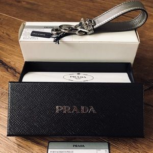 PRADA-NWT Leather & Silver Keychain